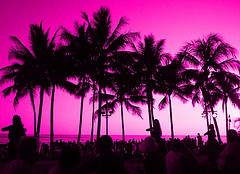 Pink Sunset of My Dreams Free Creative Commons Waikiki Beach, Hawaii