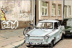 Foto de un coche aparcada en la calle para el examen de conducir